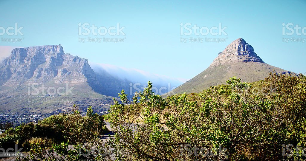 Scenic Cape Town: Table Mountain and Lions Head in summer stock photo