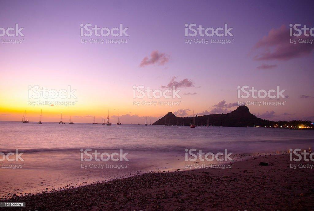 scenic caribbean beach sunset stock photo