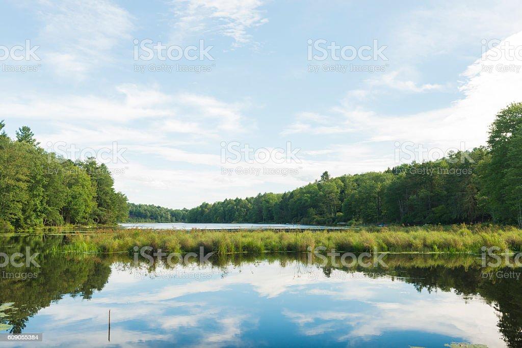 Scenic Catskill Mountains Lake Reflections on Sunny Summer Day NY stock photo