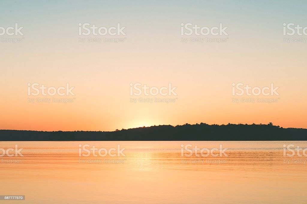 Scenic Catskill Mountains Sunset Over Lake Landscape in New York stock photo