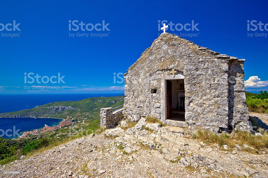 Scenic chapel on top of Vis island stock photo