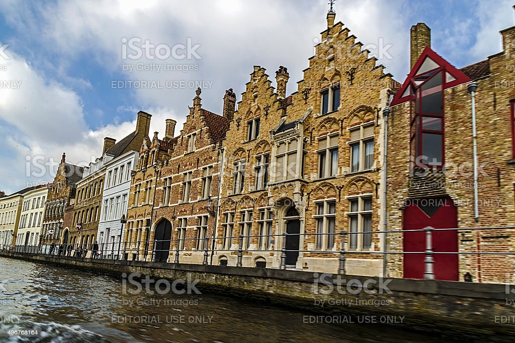 Scenic city view of Bruges, Belgium, canal Spiegelrei stock photo