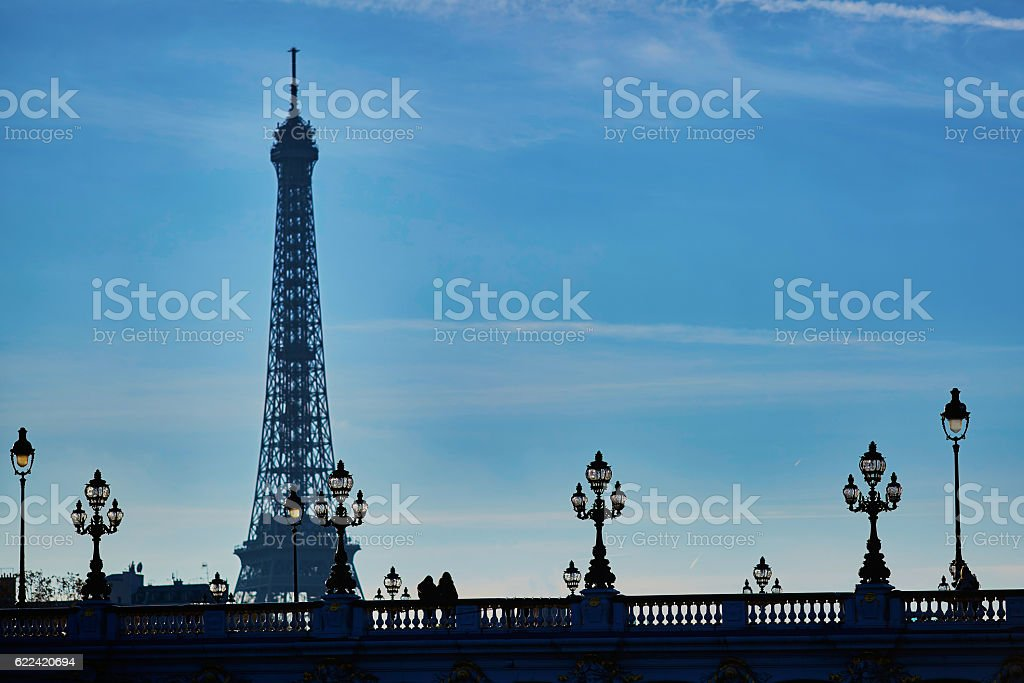Scenic cityscape of Paris with people silhouettes and Eiffel tower stock photo