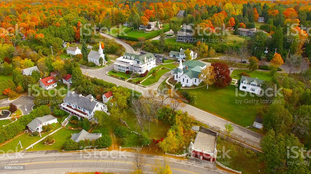 Scenic Door County Wisconsin autumn aerial of Sister Bay stock photo