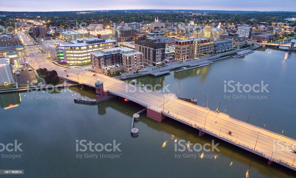 Scenic Downtown Green Bay Wisconsin Waterfront stock photo