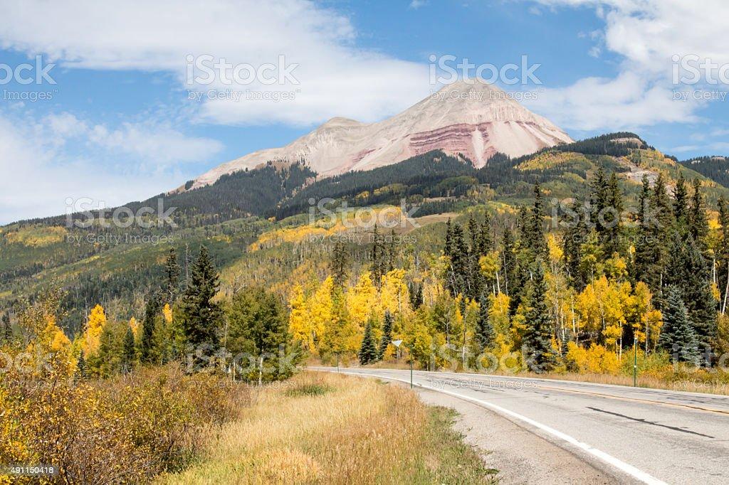 Scenic drive near Engineer Peak in the autumn stock photo