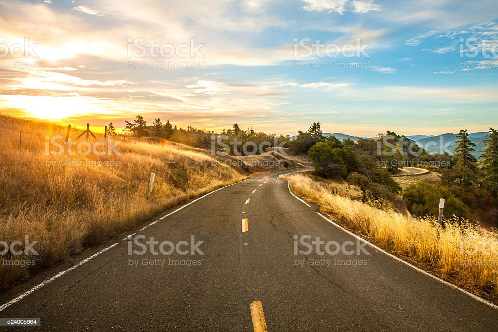 Scenic Drive On Orr Springs Road At Dawn, Mendocino County royalty-free stock photo
