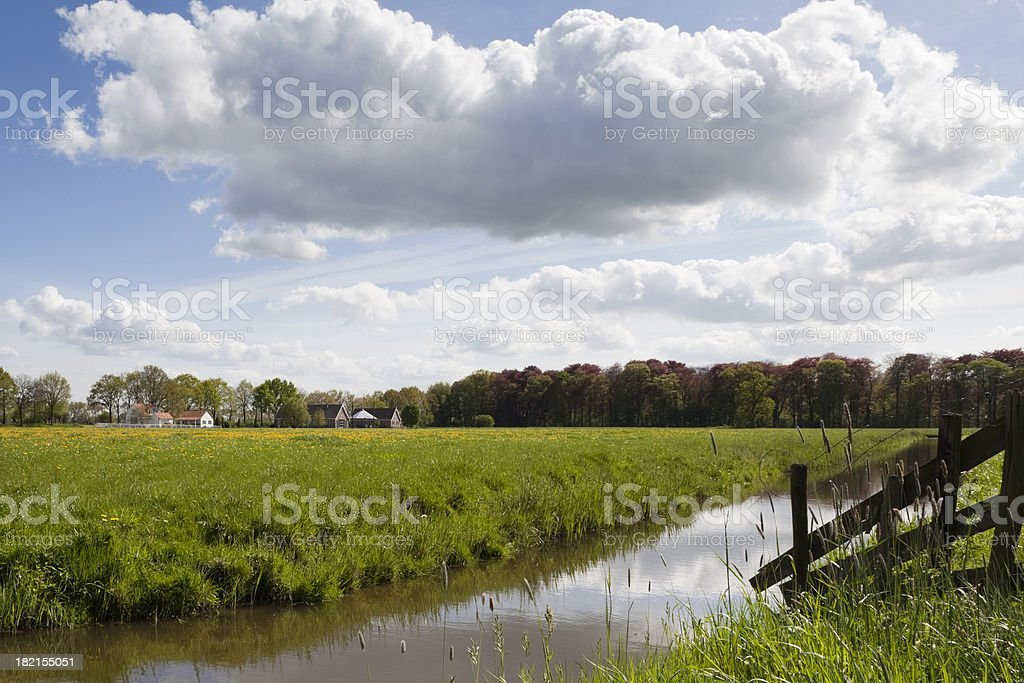 Scenic Dutch rural landscape, with canal and meadow (XL) royalty-free stock photo