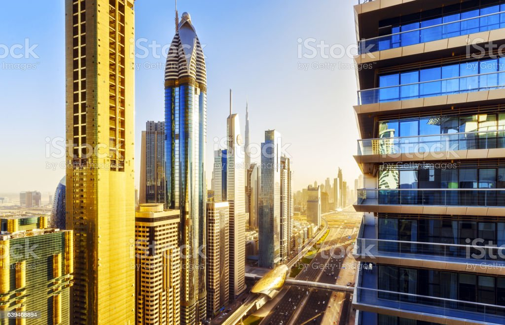 Scenic elevated view of famous skyscrapers in Dubai, UAE stock photo