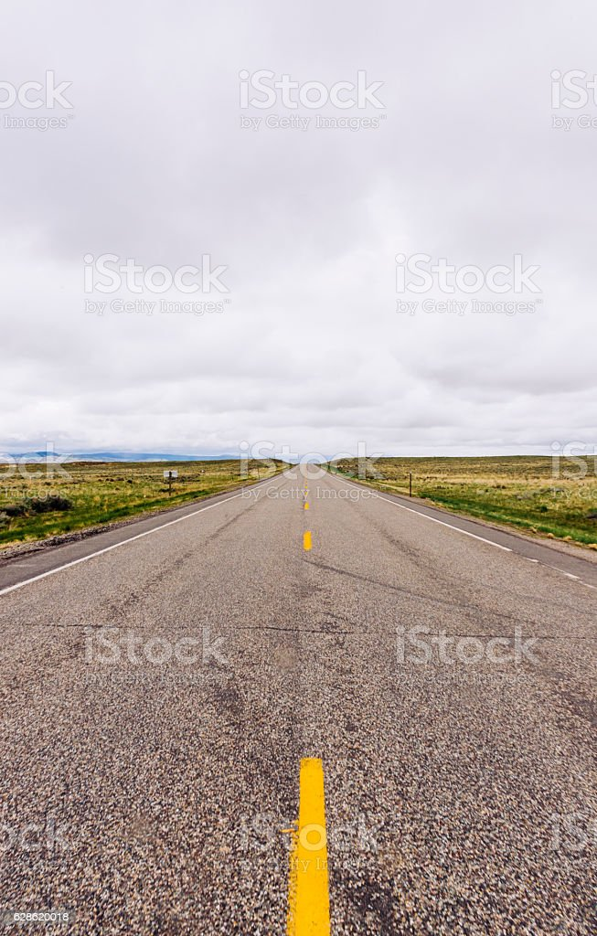 Scenic Empty Highway Wyoming Nature Landscape Background in Western USA stock photo