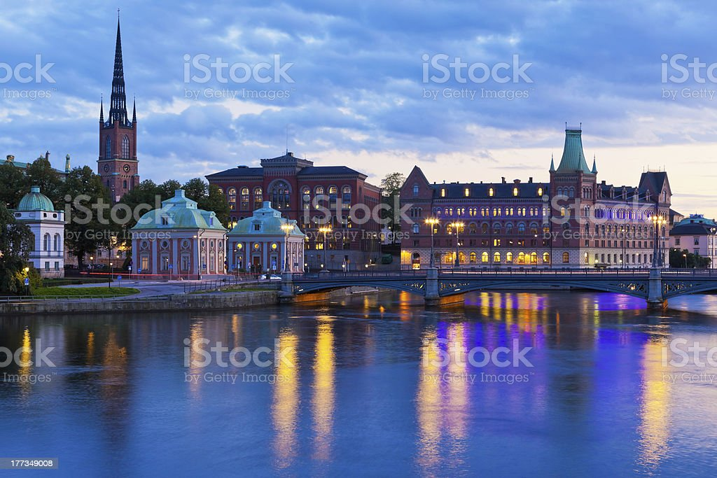 Scenic evening panorama of the Old Town in Stockholm, Sweden stock photo