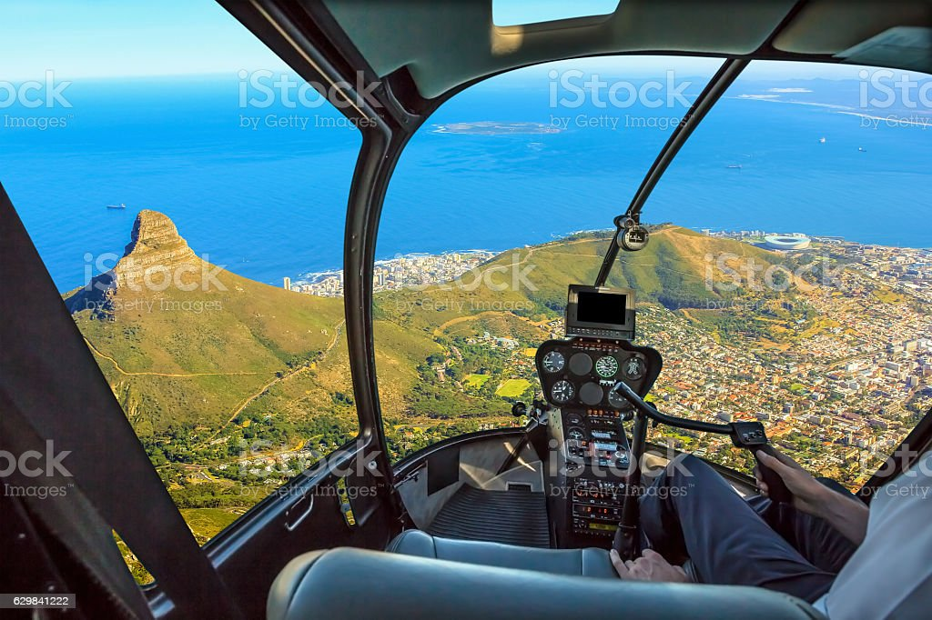 Scenic flight Cape Town stock photo