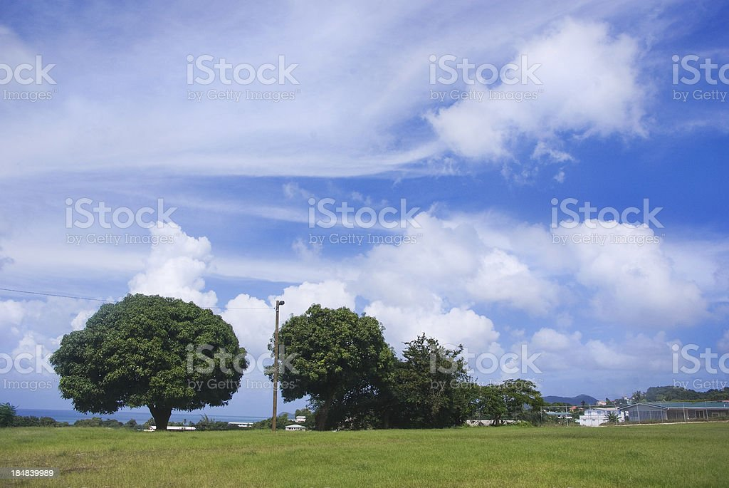scenic green field and blue sky residential landscape royalty-free stock photo