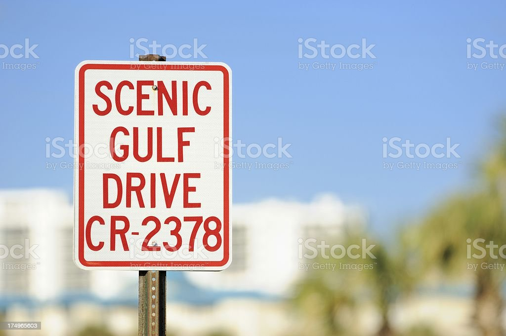 Scenic Gulf Drive CR 2378 sign royalty-free stock photo