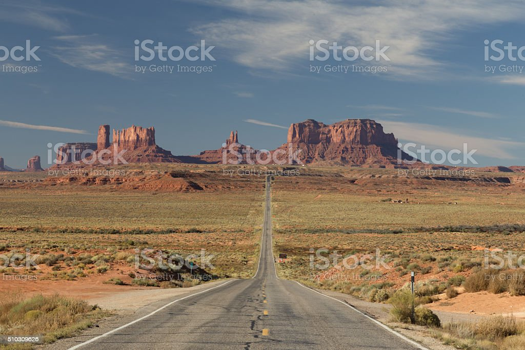 Scenic Highway at Monument Valley stock photo