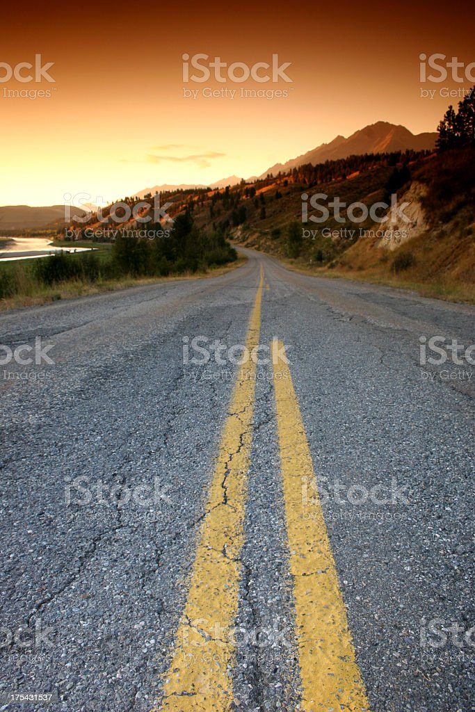 Scenic Highway in British Columbia with Sunset royalty-free stock photo