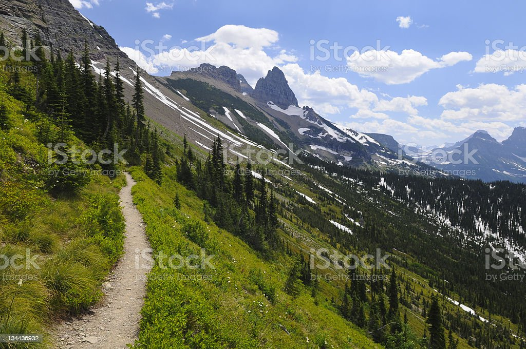Scenic Hiking Trail in Glacier National Park royalty-free stock photo