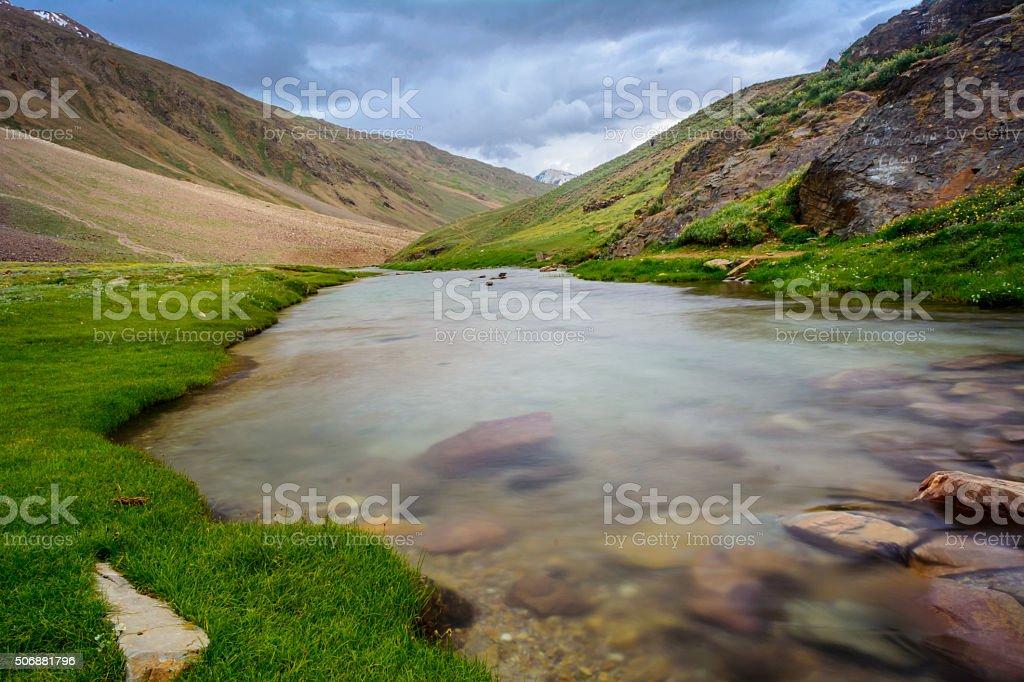 Scenic himalayas mountains and Chandra Tal lake stock photo