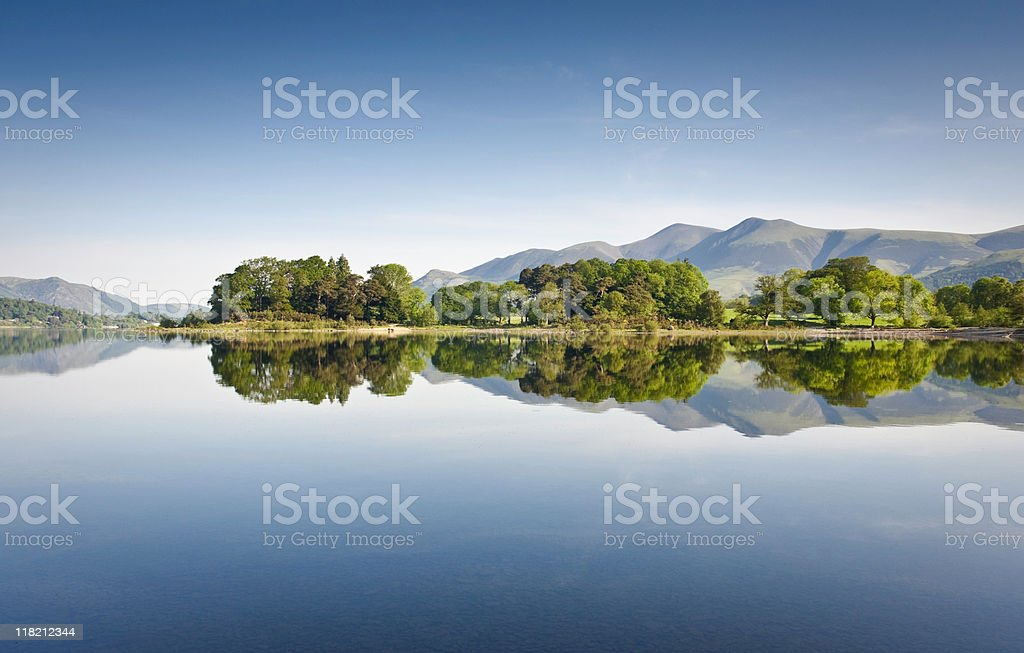 Scenic image of a lake with clear reflection of the scenery stock photo