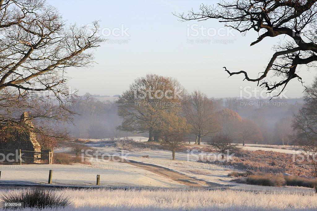 Scenic image of Southeast England under frost stock photo