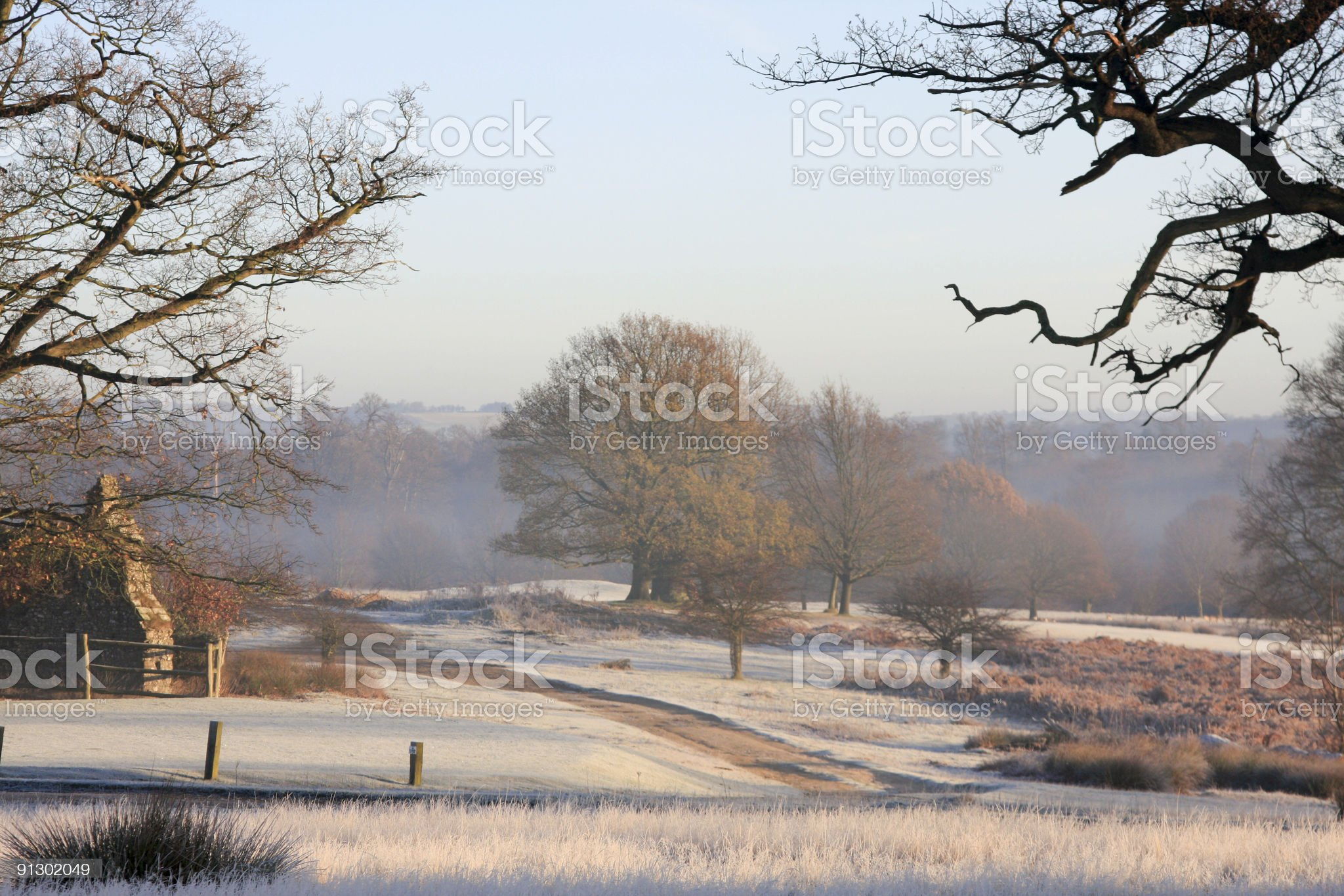 Scenic image of Southeast England under frost royalty-free stock photo