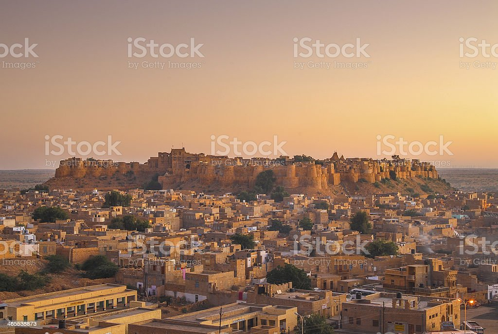 Scenic Jaisalmer Fort with a sunset stock photo