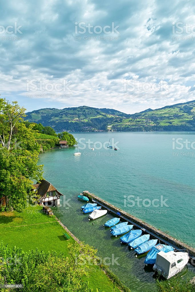 Scenic Jetty in the Thunersee royalty-free stock photo