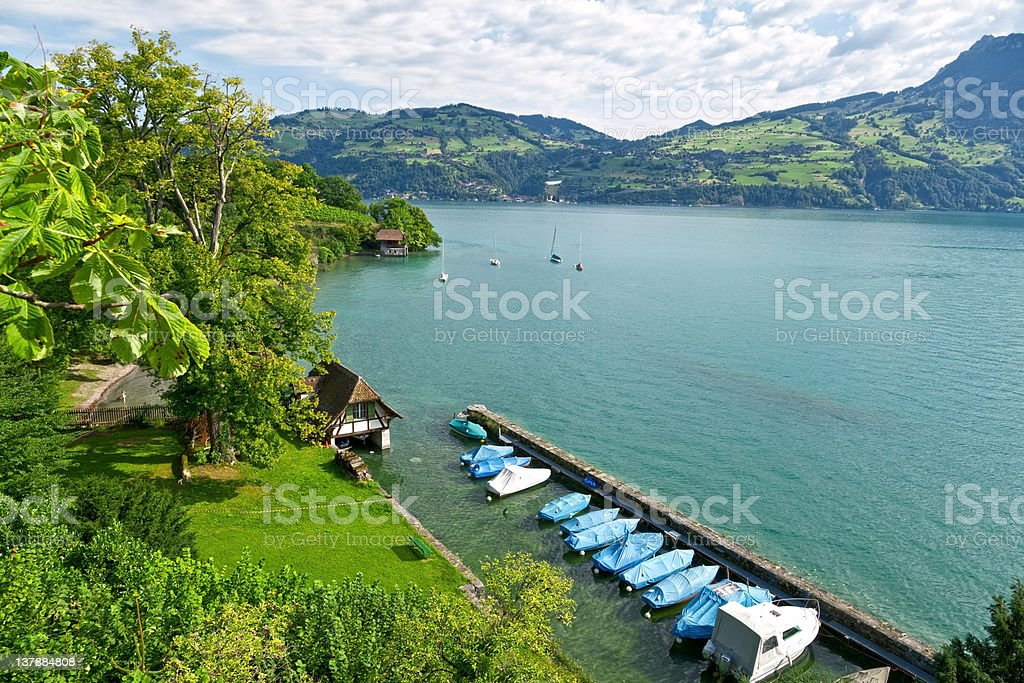 Scenic Jetty in the Thunersee, Switzerland royalty-free stock photo