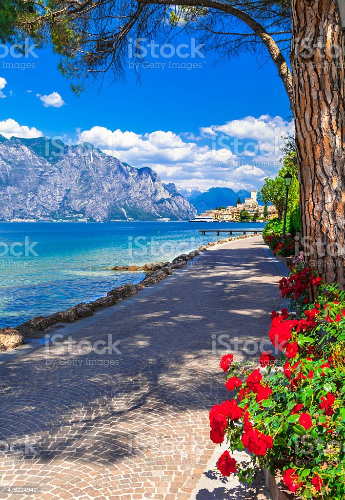 Scenic Lago Di Garda Malcesine,Italy stock photo