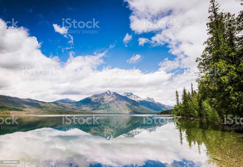 Scenic Lake McDonald Reflections Glacier National Park Montana stock photo
