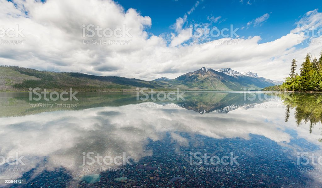 Scenic Lake McDonald Reflections Glacier National Park Montana stock photo
