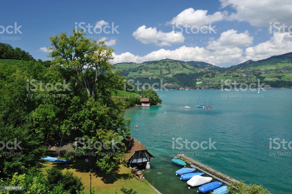 Scenic Lake Thun in Switzerland stock photo
