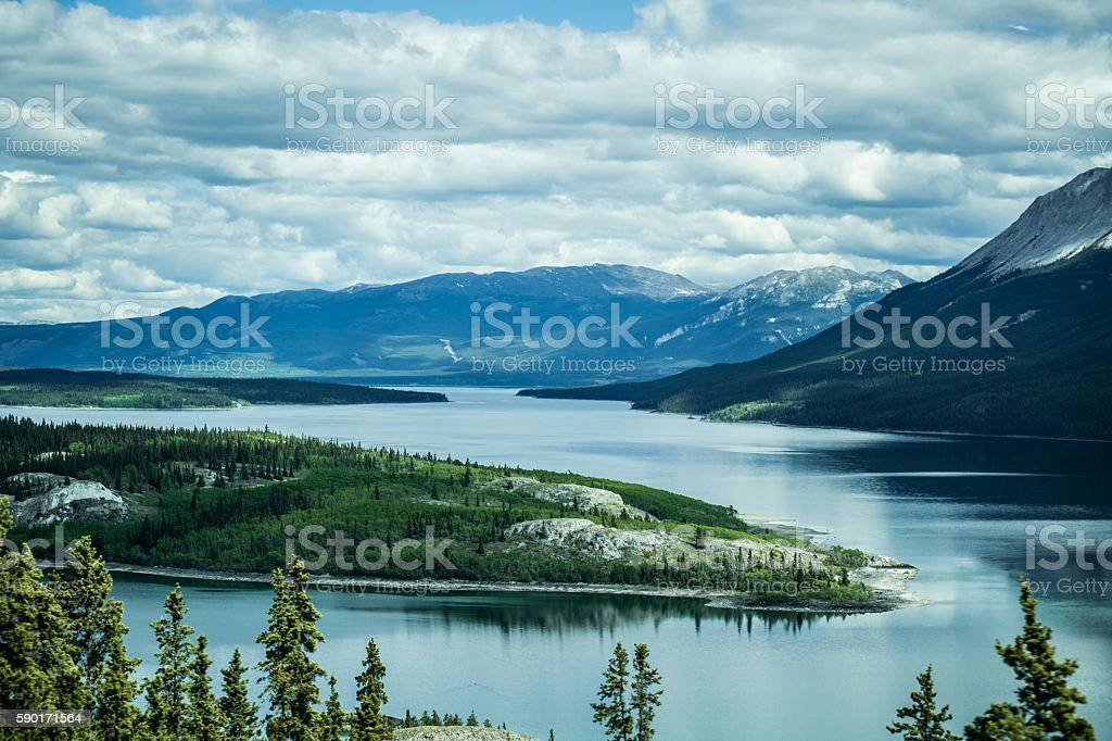 Scenic Lake Winding through Alaska mountains stock photo