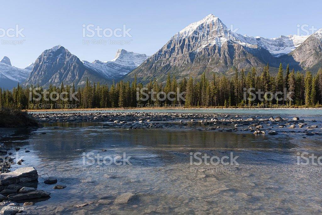 Scenic landscape along Icefield Parkway, Alberta, Canada stock photo