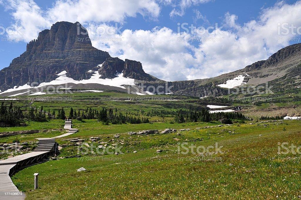 Scenic landscape in Glacier National Park stock photo