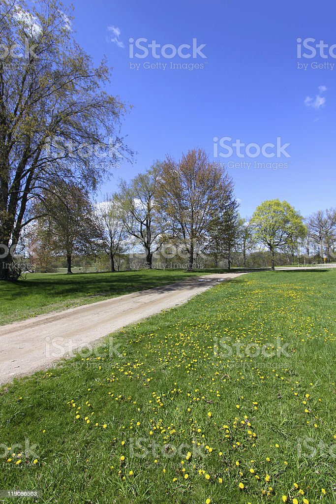 Scenic landscape in spring time stock photo