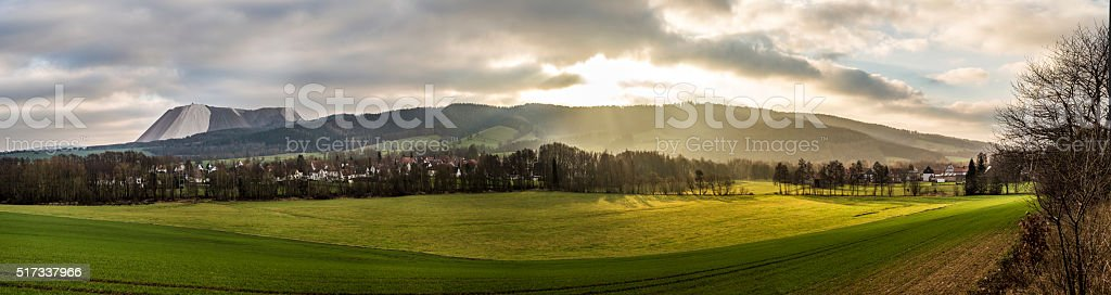 scenic Landscape near Bad Frankenhausen in the Kiffhaeuser mount stock photo