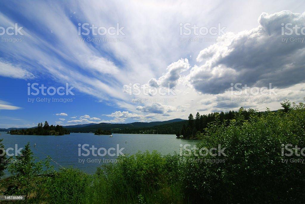 Scenic landscape of Flathead Lake in Montana stock photo