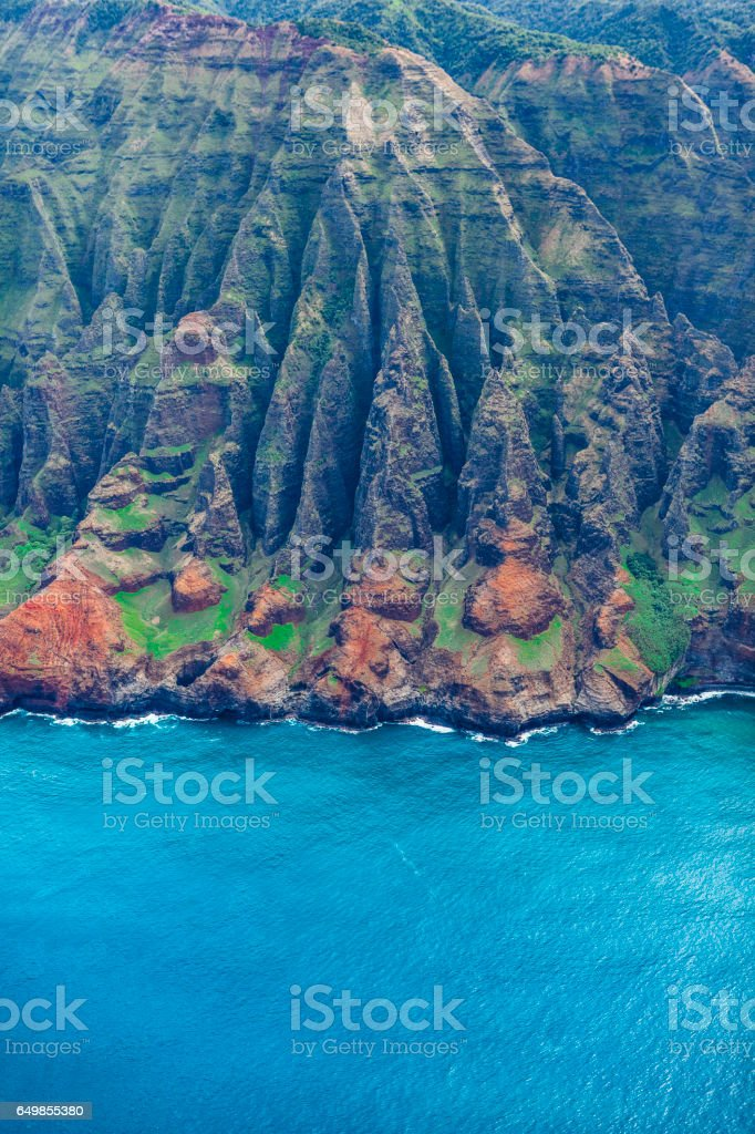 scenic landscape of the na pali coast of kauai, hawaii islands stock photo