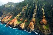 Scenic landscape of the Na Pali Coast of Kauai, Hawaii