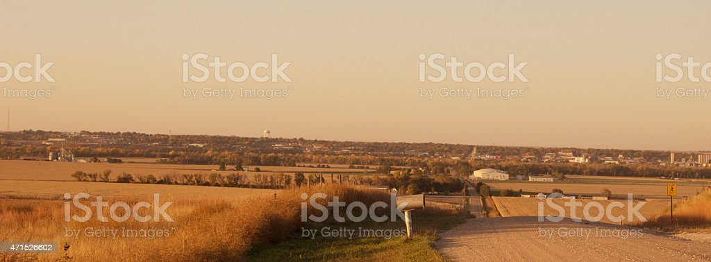 Scenic Landscape Rural Fall River Valley and Dirt Road royalty-free stock photo
