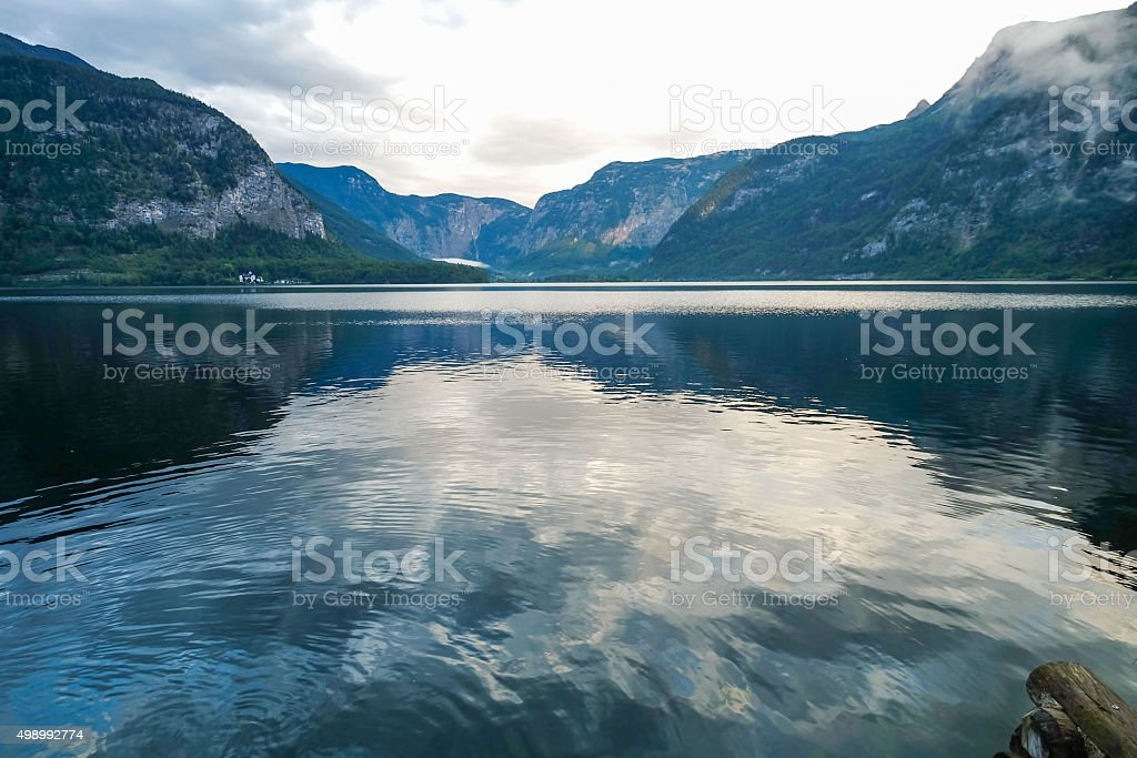 Scenic landscape view of Hallstatt, Austria stock photo