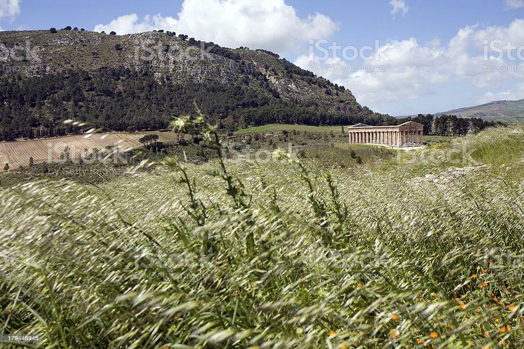 scenic landscape with ancient Roman temple stock photo