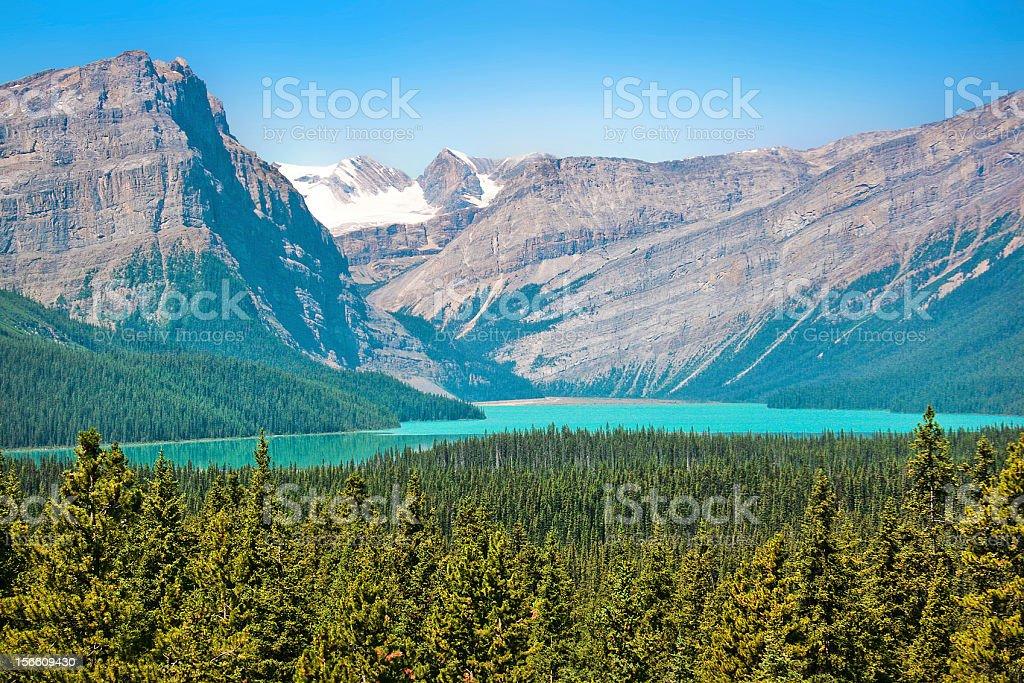 Scenic landscape with mountain lake in Alberta, Canada stock photo