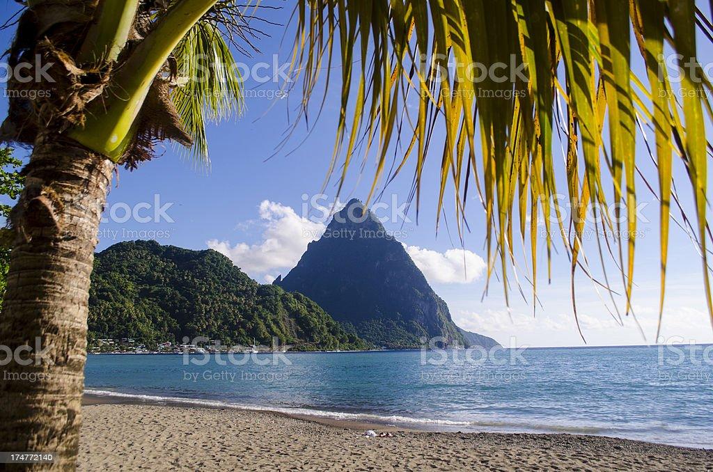 scenic landscape with mountain peak stock photo