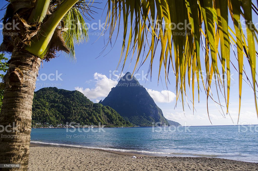 scenic landscape with mountain peak stock photo