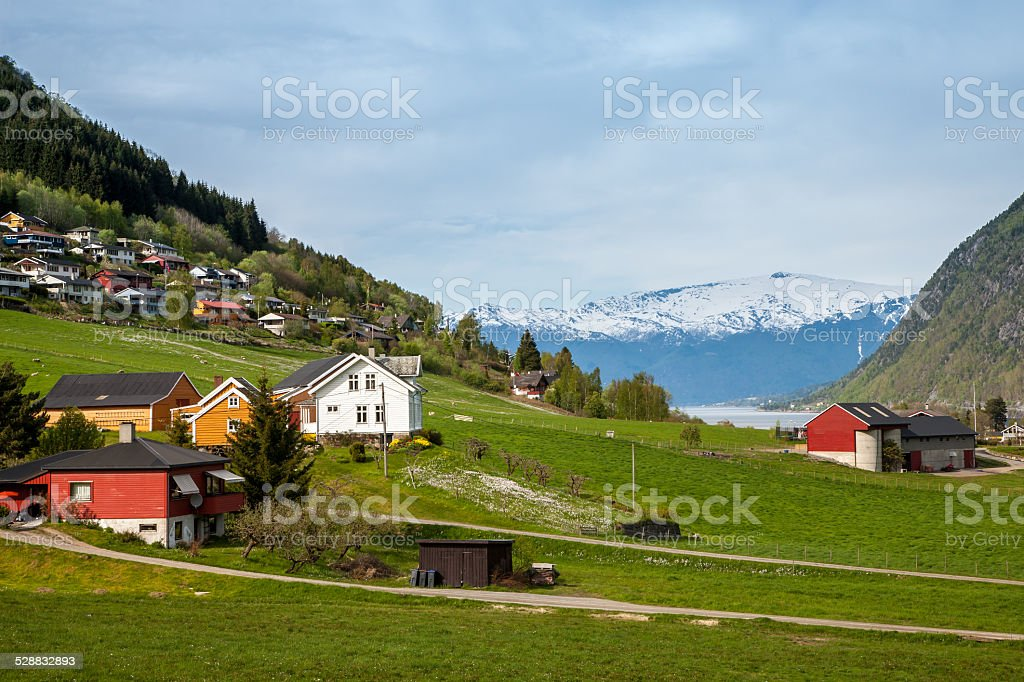 scenic landscapes of the Norwegian fjords. stock photo