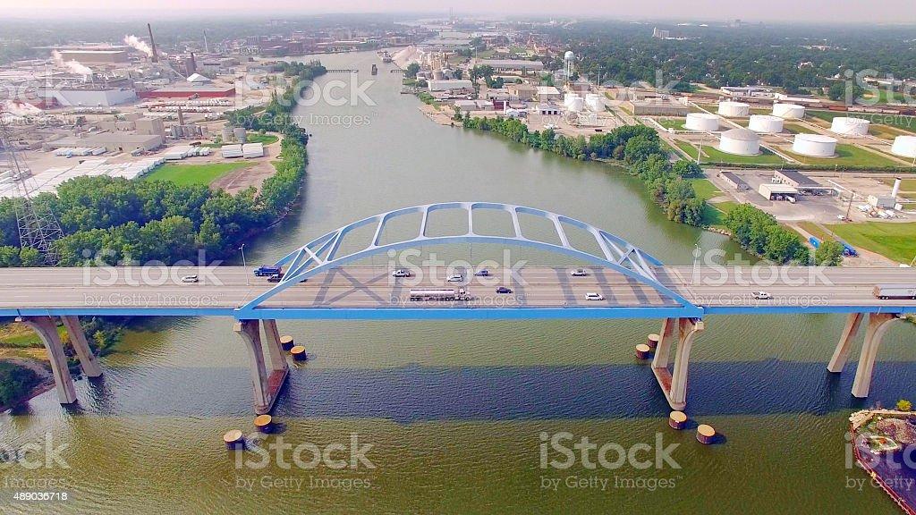 Scenic Leo Frigo Memorial Bridge, Green Bay, Wisconsin, Tower Drive stock photo
