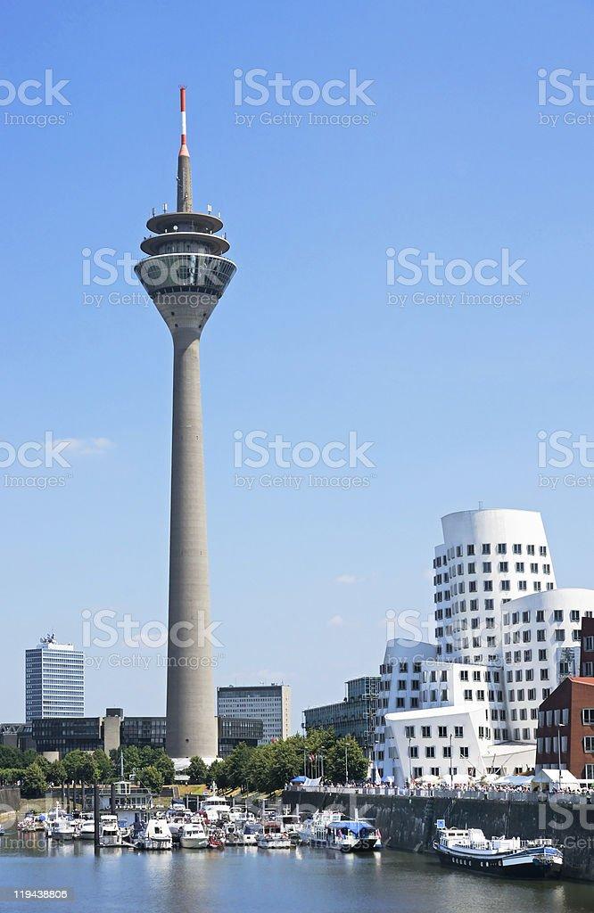 Scenic look at the Rheinturm tower in Dusseldorf stock photo
