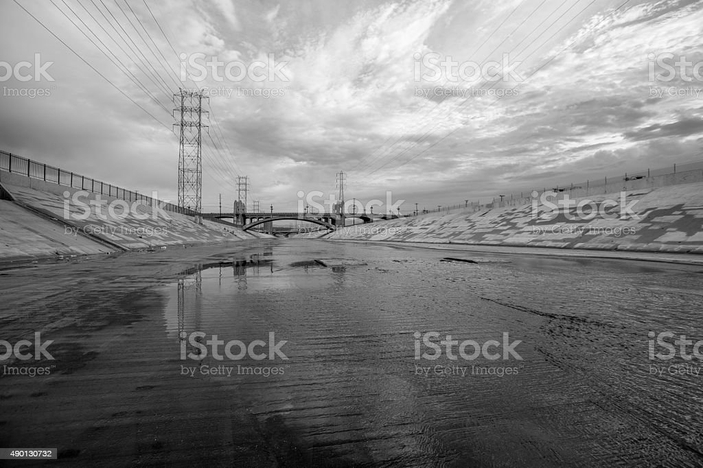 Scenic Los Angeles River Black and White stock photo